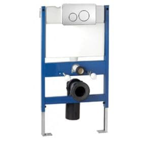 Pura Reduced Height Wall Hung WC Frame System Front Chrome Dual Flush Plate CF02FRONT