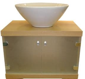 Real wood Veener Wall Mounted Vanity Unit With Frosted Glass Oak C405BO