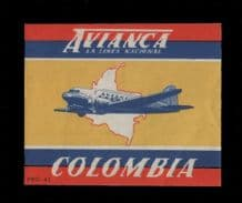 Airline label luggage labels Colombia Avianca  RARE #152