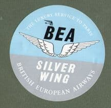 Airline luggage labe  BEA silver wing to paris  #115