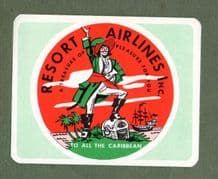 Airline luggage label Resort Airlines Caribbean flights  #709