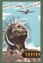 Airline luggage label  Sabena Airline,  To Congo  rare #023