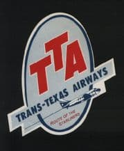 Airline luggage label  trans texas shaped Airline l label #305
