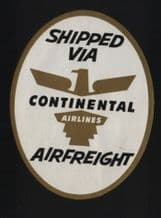 Airline luggage labels  Continental airline #349