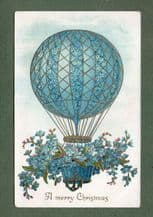 Collectable Christmas post cardscard embossed shows airballoon airship #045