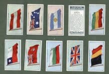 Collectable  cigarette cards set Flags of nations 1928, China Siam, Canada