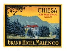 Collectable Hotel luggage label  ITALY  Chiesa Malenco   #311