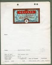 Collectible cigarette tobacco packet label + registration certificate 1912 Nelista #169