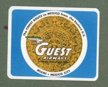 Collectible old Airline luggage label Guest Airways Mexico to U.S.A