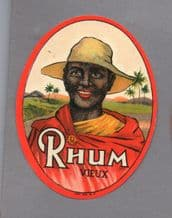 Collectible old black Americana Rum bottle label  #029