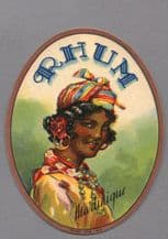 Collectible old black Americana Rum bottle label y #030