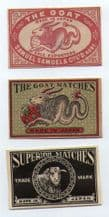 Collectible OLD match box labels CHINA or JAPAN patriotic#132