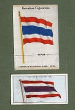 Collectible SIAM cigarette cards  old  Thailand flags one is silk #504