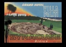 Hotel label Sicily Italy luggage labels baggage #035