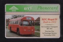 Phonecards BT Telephone card   AEC Regal Bus #096