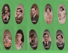 """Tobacco cigarette cards Popular Personalities """"Oval"""