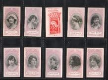 Tobacco cigarette cards set Actresses mauve surround 1916