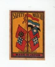 VERY OLD match box labels CHINA or JAPAN patriotic  flags  #318