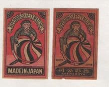 VERY OLD match box labels CHINA or JAPAN patriotic  Monkey  #134