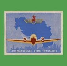 Vintage Airline luggage label Jugoslavia early rare #543
