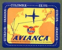 Vintage Airline luggage label South America avianca Colombian airline  #465