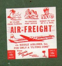 Vintage Collectible Airline luggage label Riddle Air line   #435