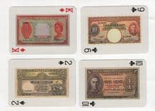Vintage playing cards. Singapore Straits-settlements banknotes.