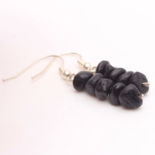 Black Tourmaline Chip Earring