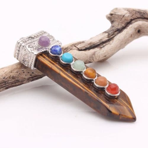 Chakra Tiger Eye Point Pendant