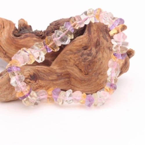 Faceted Amethyst, Rose Quartz, Clear Quartz  & Citrine Bracelet