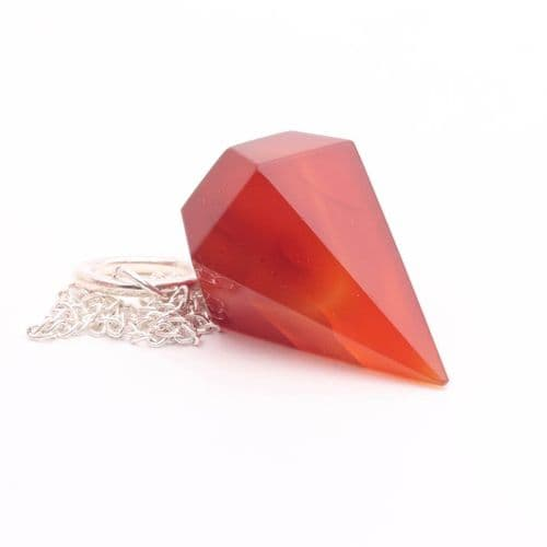 Large Faceted Carnelian  Point Pendulum  2