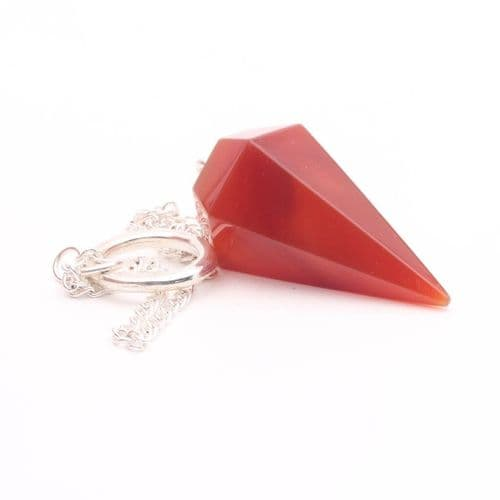 Medium Faceted Carnelian  Point Pendulum  2