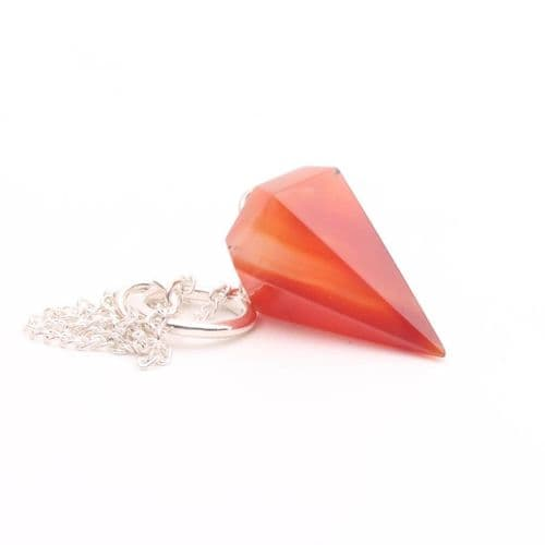 Medium Faceted Carnelian  Point Pendulum  3