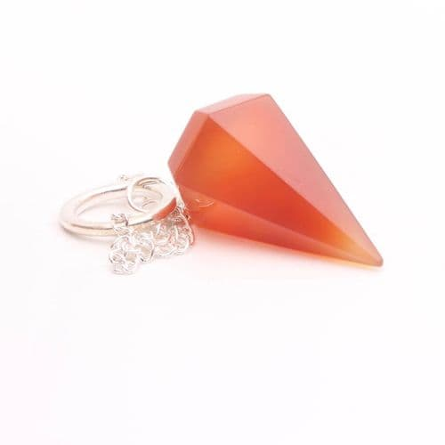 Medium Faceted Carnelian  Point Pendulum  4