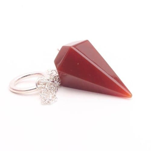 Medium Faceted Carnelian  Point Pendulum  5