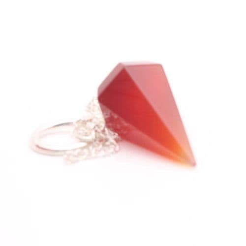 Medium Faceted Carnelian  Point Pendulum  6