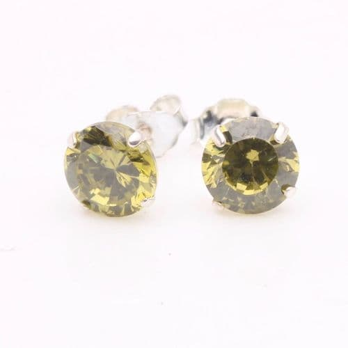 Peridot Cubic Zirconia Stud Earrings (6mm)