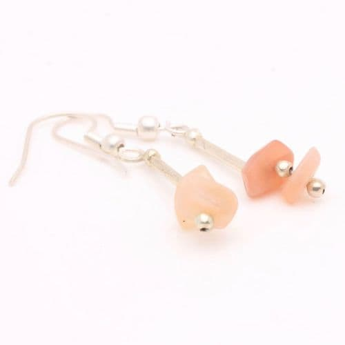 Pink Moonstone Chip Earrings