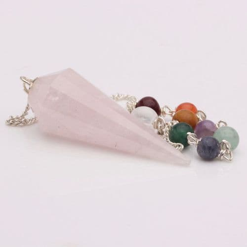 Rose Quartz Faceted point with 7 beads Pendulum