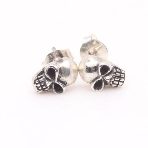 Silver Skull Head Earrings 2