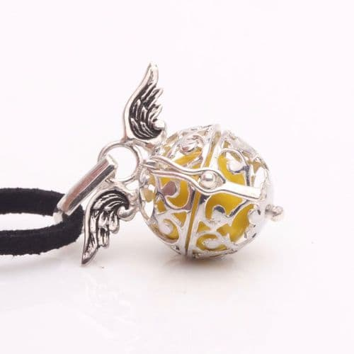 """Silver, """"Topaz Colour"""", Angel Wing Calling Bell"""