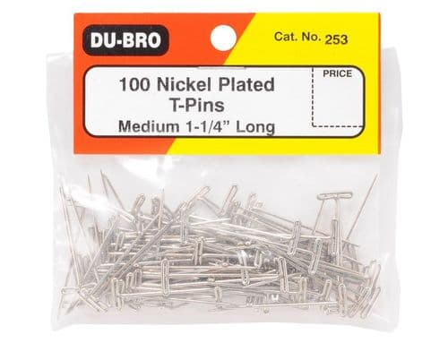 "Dubro 1.25"" (31.7mm) Nickel Plated T-Pins (100 Pack)"