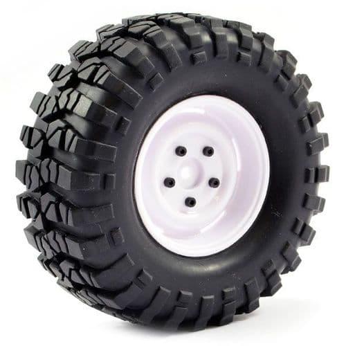 Fastrax 1:10 Crawler Sawblock 1.9 Scale Steel Wheel 108mm (White) FAST1266W
