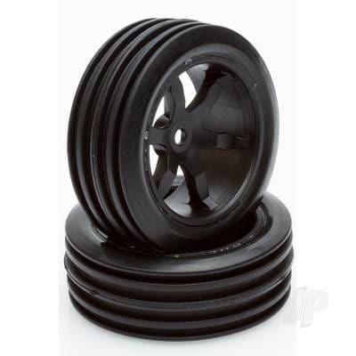 Helion 1:12 76mm Black Wheels/Tyres 29mm Width (12mm Hex) Pair HLNA0486