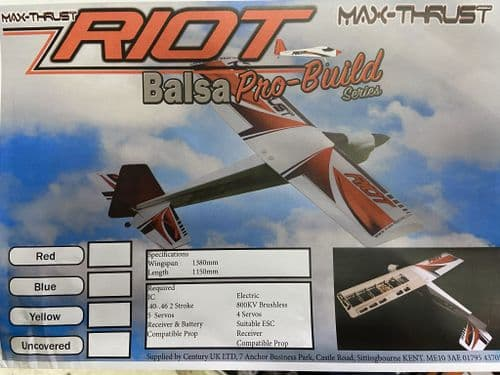 Max Thrust Riot Pro-Build Balsa Kit Red - IC or Electric 1-MT-BALSA-RIOT-R